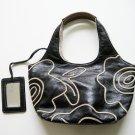 Nine West NEW Women's Ivory Floral Tracing Black Leather Shoulder Handbag Small