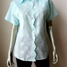 Jipata NEW Blue Floral Embroidery Short Sleeves Button Down Tunic Shirt 46/XL