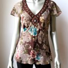 Nine West NEW Floral Sheer Silk Cap Sleeves Jewel Sequins Collar Casual Top 8