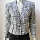 Joule NEW Black and White Glen Plaid Unlined Long Sleeve 1-Button Blazer S