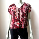 V$401 Angie NEW Red/Tan Satin Print Quilt Art Front Cap Sleeves Pull over Blouse M