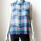 Abercrombie & Fitch NEW Sheer Chiffon Plaids Sleeveless Button Down Shirt L