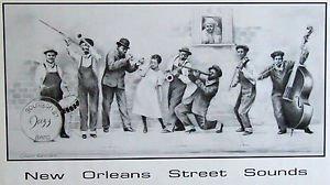 Street Sounds James Russell New Orleans Art Print Mardi Gras Rare