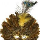 Venetian Feather Mask Yellow Masquerade Decor Mardi Gras Halloween Prom