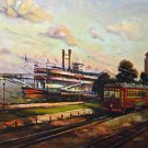 Riverboat Streetcar New Orleans Baltas Matted Art Print Jackson Square