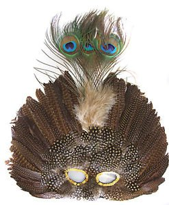 Venetian Feather Mask Brown Masquerade Decor Mardi Gras Halloween Prom