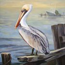 Pelican on Dock New Orleans Baltas Matted Art Print French Quarter