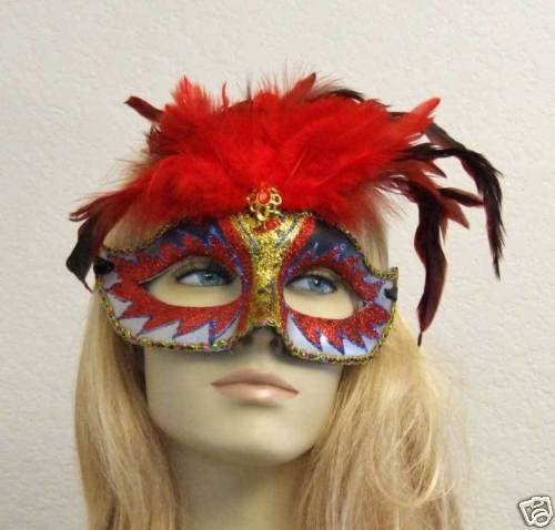 Red Starburst Glitter Feather Masquerade Mask Costume