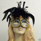 Silver & Black Gold Glitter Feather Masquerade Mask