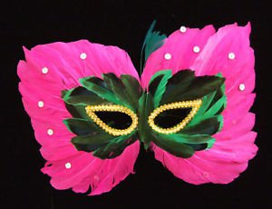 Butterly Feather Masquerade Ball Party Mask Hot Pink