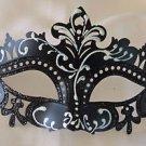 Venetian Eye Mask Black & White Scroll Mardi Gras Halloween Prom Costume Party