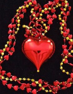 Valentine Heart Mardi Gras Bead Necklace YOUR CHOICE OF MANY STYLES Hearts Love