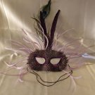 Feather Mask Carnival Plum Mardi Gras Masquerade Ball Decor Party Prom