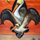 Fleur de Lis New Pelican Orleans Baltas Matted Art Print Louisiana