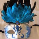 Trident Black & Blue Mask Costume Prom Mardi Gras New Orleans Masquerade