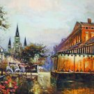 Cafe Du Monde Cathedral Buggy New Orleans Baltas Matted Art Print