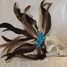 Feather Mask White with Blue Cluster Feathers Mardi Gras Masquerade Party