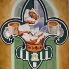Cafe DuMonde Fleur de Lis Biegnets Coffee Art Print Matted Print Baltas