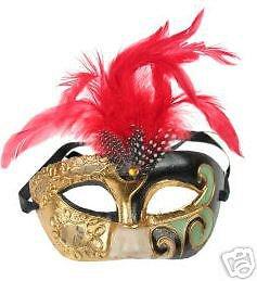 Masquerade Ball Mardi Gras Party Mask Pierrot Feathers #1 Halloween