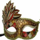 Venetian Mask Cascade Red & Black Harlequin Halloween Mardi Gras Costume Party