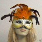 Burnt Orange White Feather Masquerade Mask Costume