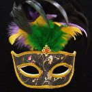 SHOWGIRL OSTRICH Feather Mask Black Flower Costume