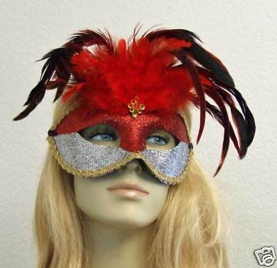 Crimson & Silver Glitter Feather Masquerade Mask