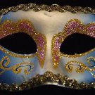 Venetian Mask Glitter Mardi Gras Violet and Blue Gold