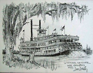 Riverboat Steamer Natchez New Orleans Mardi Gras Art French Quarter