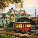 Street Car Jax Brewery New Orleans Baltas Matted Art Print French Quarter Cajun