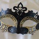 Venetian Eye Mask Black & Gold Scroll Mardi Gras Halloween Prom Costume Party