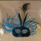 Feather Mask Carnival Blue Mardi Gras Masquerade Ball Decor Party Prom