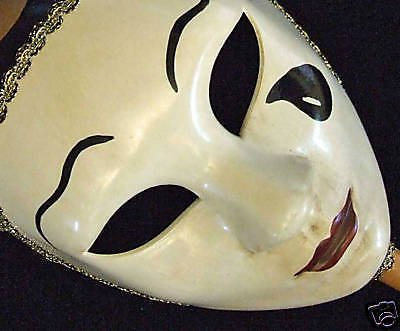 Venetian Mask Full Face White Black Tears Masquerade