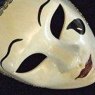 Venetian Mask Full Face White Black Tears Masquerade