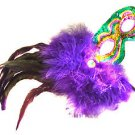 Mardi Gras Colors Feather Wand Mask Purple Feathers Halloween Prom Costume Party