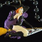 Sexy Witch Riding a Broomstick Halloween Bead Necklace