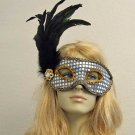 GOTH SILVER & Feathers Party Masquerade Mardi Gras Mask