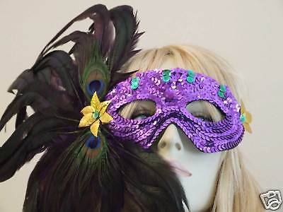 APHRODITE SEQUIN FEATHER MASK Costume Party Mystery FUN
