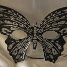 Venetian Mask Butterfly Black with Silver Prom Mardi Gras Masquerade Costume