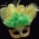 SHOWGIRL OSTRICH Feather Mask Gold Green & Red Jewel