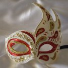 Flame Mask Red & Gold Costume Prom Mardi Gras New Orleans Party Masquerade