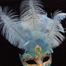 SHOWGIRL OSTRICH Feather Mask Teal Blue & Green Jewel
