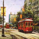 Street Car Bourbon Street Red New Orleans Baltas Matted Art Print Cajun Creole