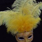 SHOWGIRL OSTRICH Feather Mask Gold Multi  Color Jewel