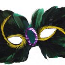 Venetian Feather Green with Yellow Eyes Mardi Gras Costume Prom Masquerade