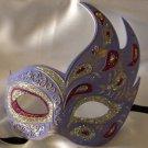 Flame Mask Lavender & Purple Costume Prom Mardi Gras New Orleans Masquerade