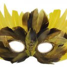 Venetian Feather Yellow with Brown Mardi Gras Costume Prom Masquerade