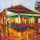 Cafe Du Monde Coffee Sax Player Jazz New Orleans Baltas Matted Art Print
