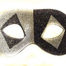 Venetian Eye Mask Glitter Black & Silver Costume Prom Party Mardi Gras