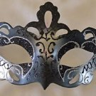 Venetian Eye Mask Black & Silver Notch Mardi Gras Halloween Prom Costume Party